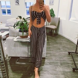 Pants - Staci Striped Crop Top and Pants Set In Black